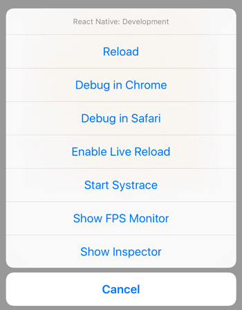 React native debug menu