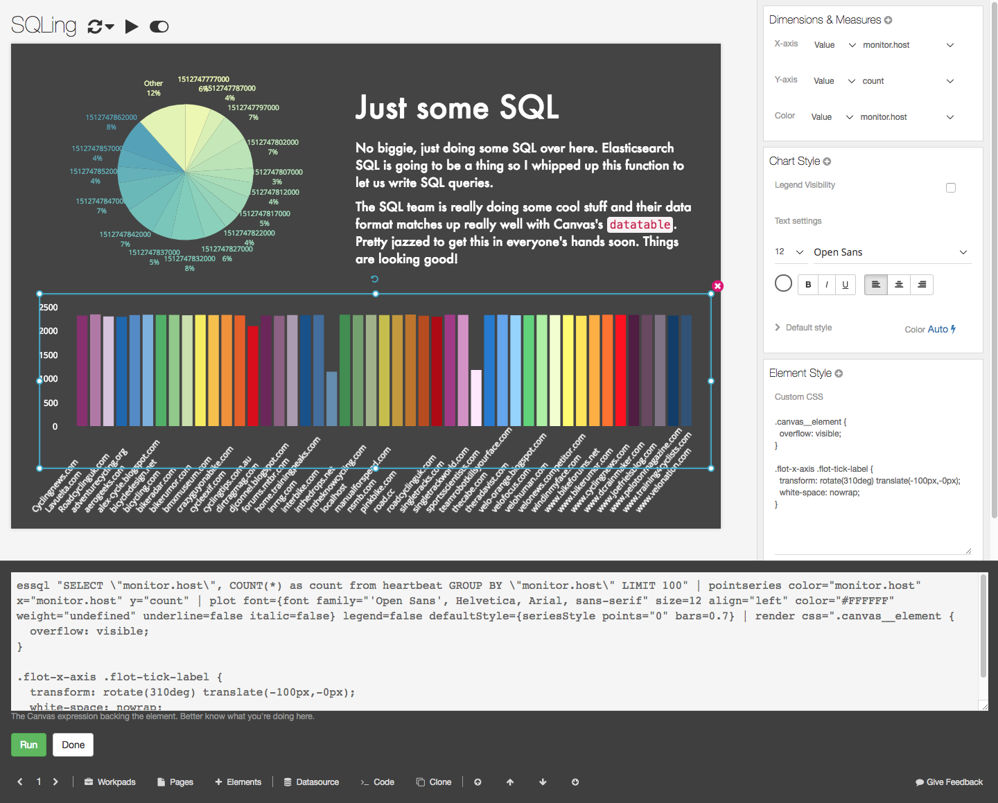 Kibana Canvas et SQL